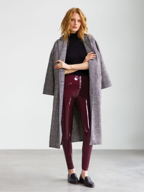 FAUX PATENT LEATHER LEGGING WITH PERFECT CONTROL Burgandy