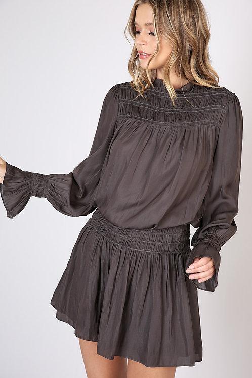 Shirring Charcoal Dress