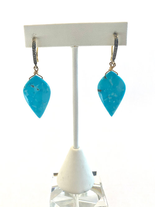 Turquoise teardrop with pave diamond findings