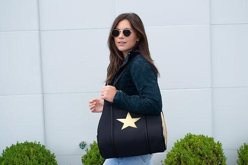 BLACK NEOPRENE BAG W/METALLIC STAR, METALLIC PERFORATED SIDES
