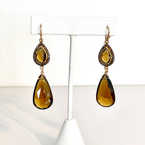 Smokey Quartz Earrings with Pave Diamond Tops