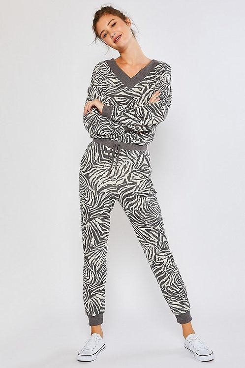Grey Zebra Jogger Pants