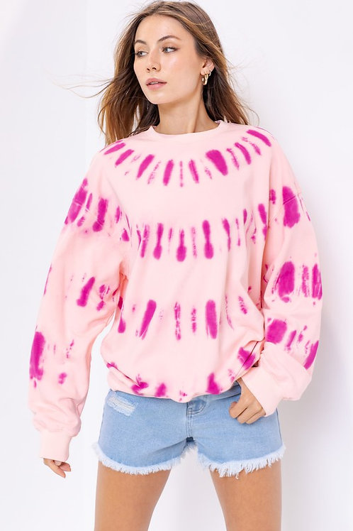Two-Toned Pink Tie Dye Pullover
