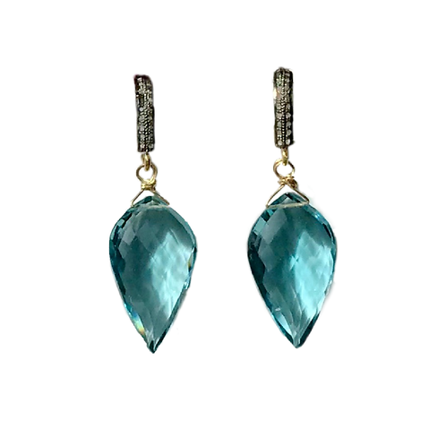 Aquamarine Faceted Petal Drops