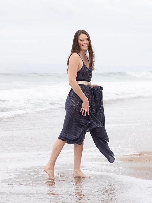 Navy Sleeveless Lurex Dress