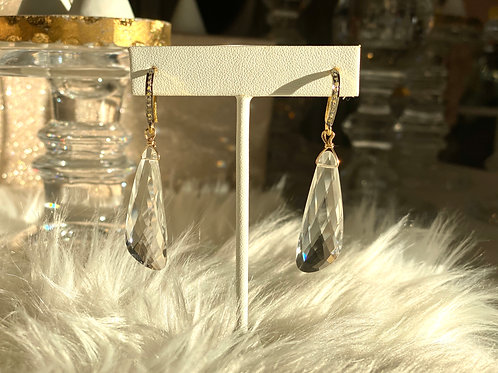 Clear Quartz Earrings with Pave Diamond Findings