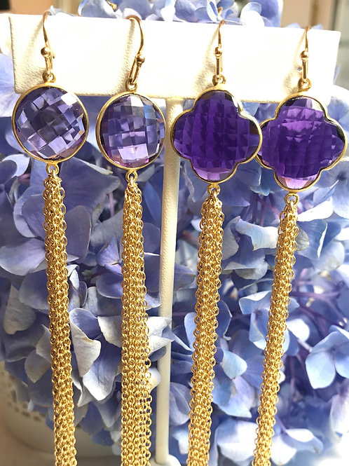 Amethyst Boyfriend Earrings