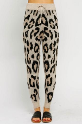 Cream Leopard Drawstring Joggers
