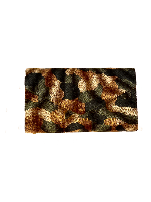Structured Camo Beaded Clutch
