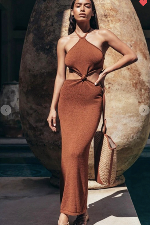 Brown Cut Out Dress