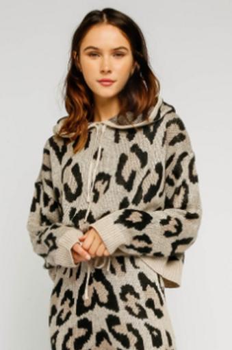 Cream Leopard Drawstring Hoodie
