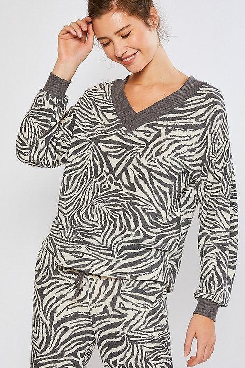 Grey Zebra Pullover