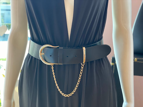 Black Leather Belt with Chain