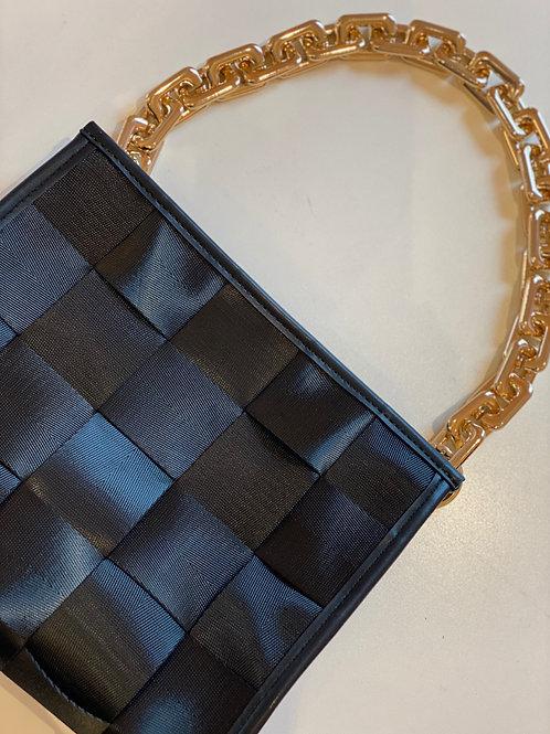 Woven Zip Top Clutch/Convertible Purse Black