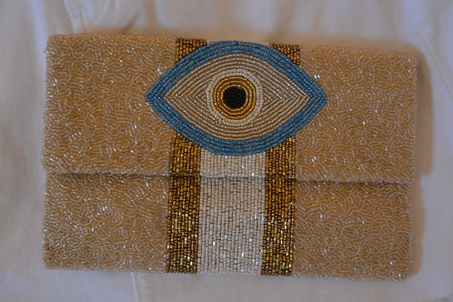 Tan Eye Clutch