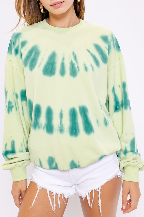 Two-Toned Green Tie Dye Pullover