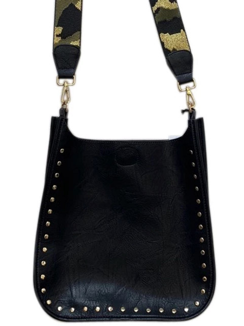 Black Vegan Leather Messenger with gold studs