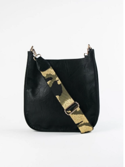 Vegan leather Black Messenger Bag with Camo Strap