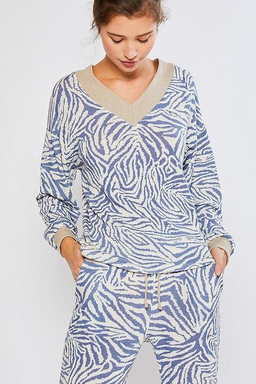 Blue Zebra Pullover