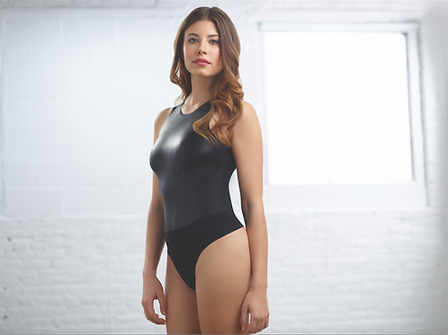 Faux Leather Bodysuit Black