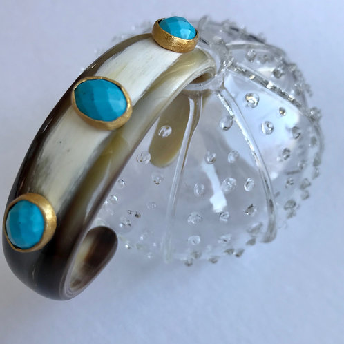 Bone Cuff with Turquoise
