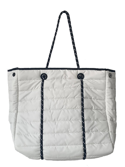 Puffy sporty tote white
