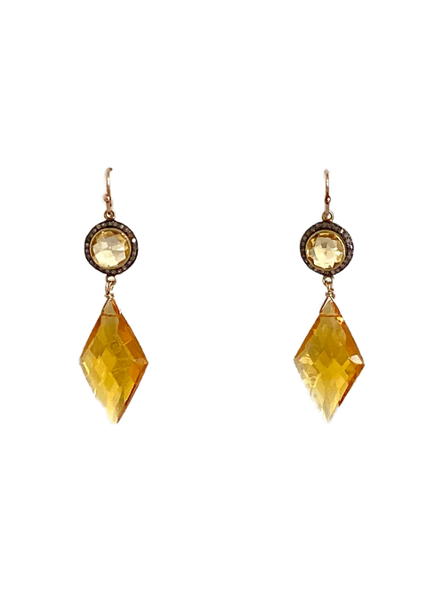 Citrine Earrings with Pave Diamond Tops