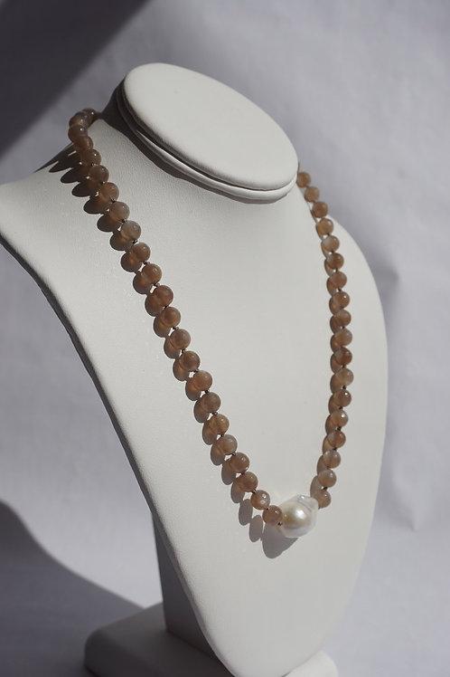 Smokey Quartz with Baroque Pearl Necklace