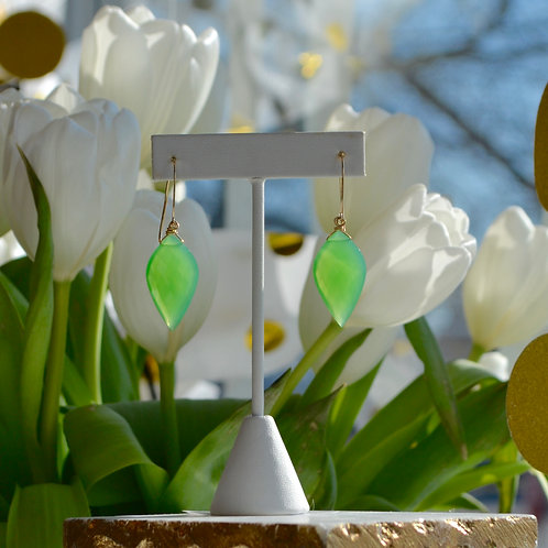 Chrysoprase Petal Drop Earrings