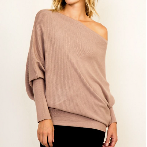 Off the shoulder mocha sweater