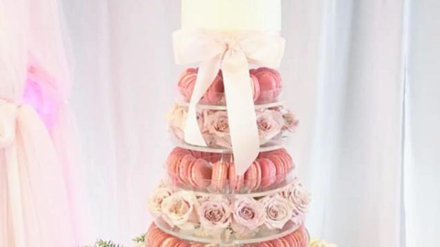 Macaron Tower + Cake + Flowers