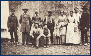 """Contraband who served with the 13th Massachusetts Infantry, c. 1863-1865; """"Binding Our Wounds, Pushing Boundaries: African Americans in Civil War Medicine,"""" National Institute of Health, Washington, DC; https://www.nlm.nih.gov/exhibition/bindingwounds/index.html, 9 June 2020; photo courtesy of Massachusetts Commandery Military Order of the Loyal Legion and the U.S. Military History Institute."""