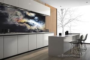 custom made kitchen splashback, image printed on glass, glass wall art, designer kitchen, skyscape, made to measure contemporary wall art, interior design project, bespoke wall art