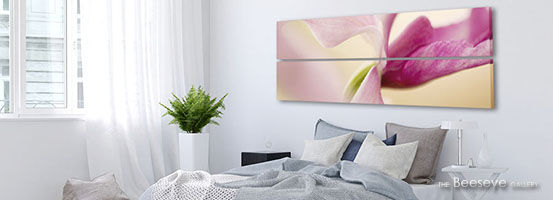 Bespoke canvas wall art in a white designer bedroom, canvas wall art made to measure, custom made wall art, images inspired by nature