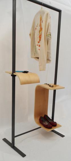 tall bent plywood shelf and short hung rack