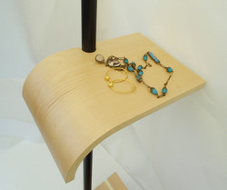 bent plywood shelf and jewelry
