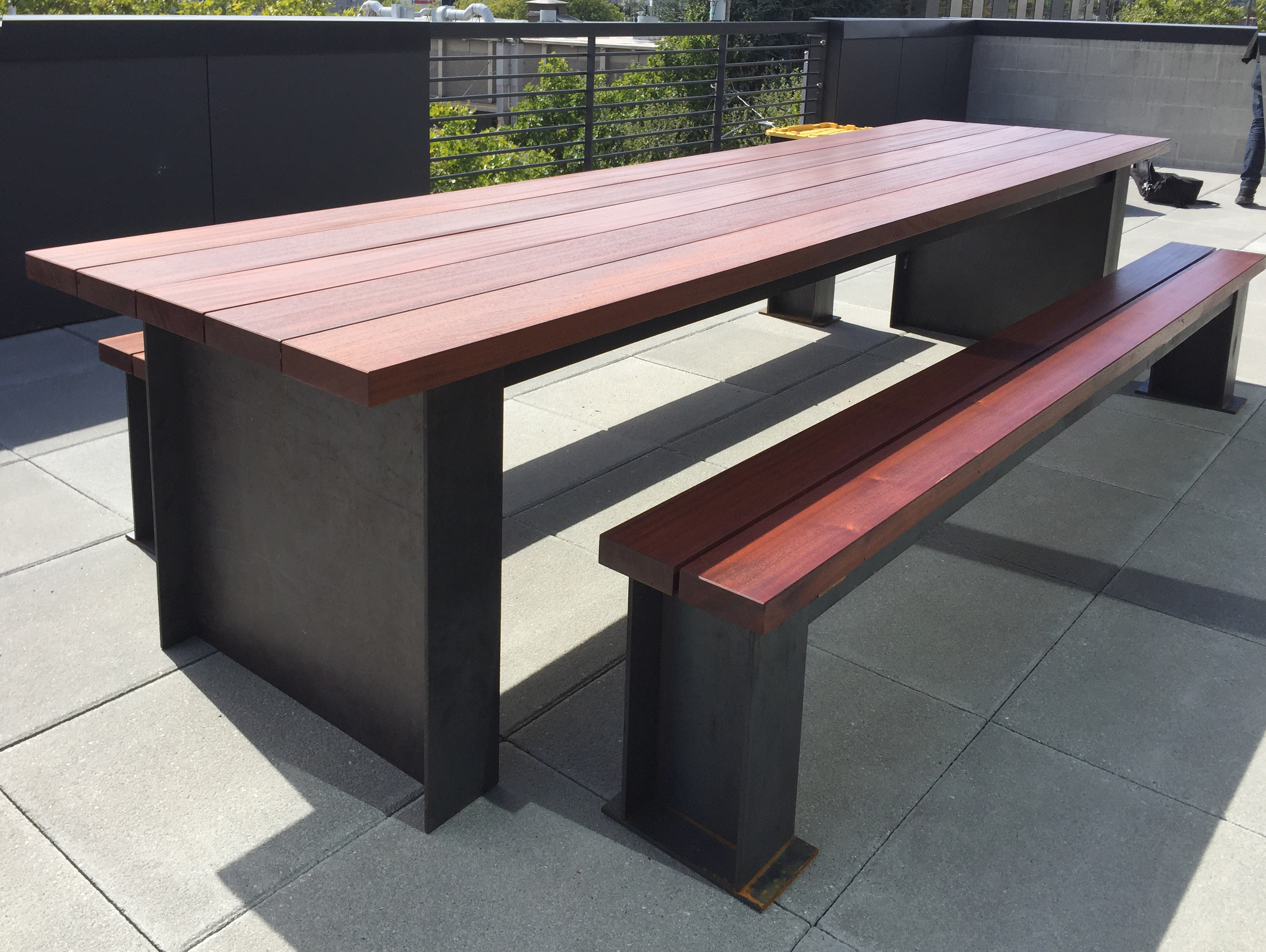 Outdoor Steel and Wood Table