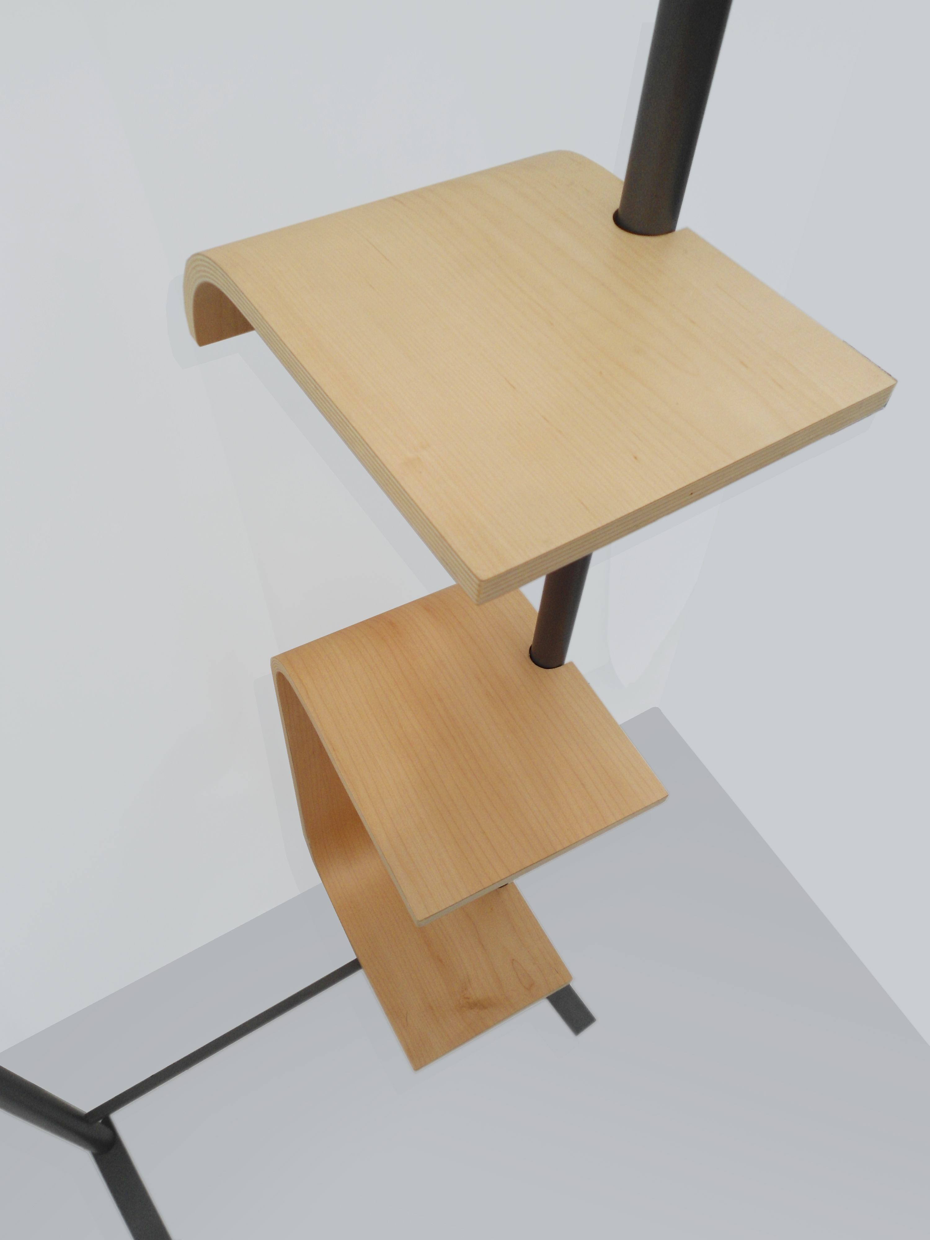 bent plywood shelf tall and short hung rack