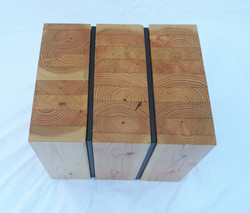 kcls glulam side table vertical piece with steel