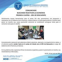 COMUNICADO: BUSCANDO REACTIVAR LA ECONOMIA - PROMO 6 CUOTAS • 20% DE DESCUENTO