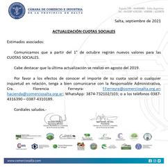 ACTUALIZACIÓN CUOTAS SOCIALES