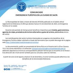 COMUNICADO: EMERGENCIA TURISTICA EN LA CIUDAD DE SALTA