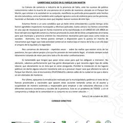 COMUNICADO: LAMENTABLE SUCESO EN EL PARQUE SAN MARTIN