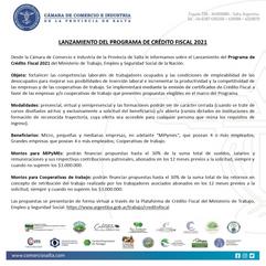 LANZAMIENTO DEL PROGRAMA DE CRÉDITO FISCAL 2021