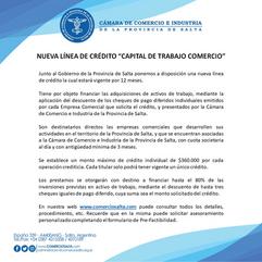 """NUEVA LÍNEA DE CRÉDITO """"CAPITAL DE TRABAJO COMERCIO"""""""