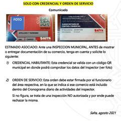 COMUNICADO: INSPECCIONES MUNICIPALES, SOLO CON CARNET Y ORDEN DE SERVICIO