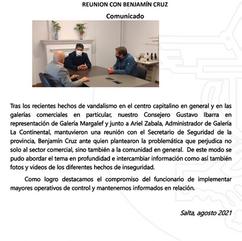 COMUNICADO: INSEGURIDAD EN EL MICROCENTRO Y GALERIAS COMERCIALESREUNION CON BENJAMÍN CRUZ