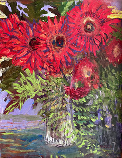 Nadler, Marci-Gerbera Daisies (Contrast in Red and Green)