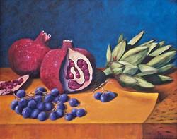 Petrecca, Regina-Still Life With Pomegranates-16x20-oil on canvas