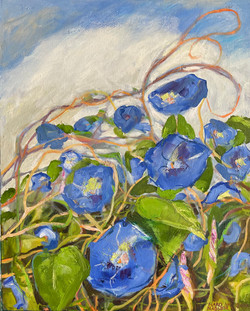 Nadler, Marci-Morning Glories (Contrast in Blue and Green)